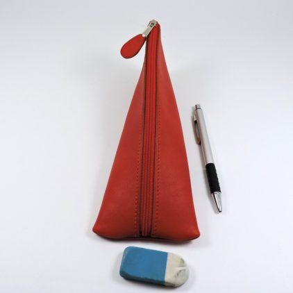 Trousse ecolier berlingot stylos bureau cuir rouge