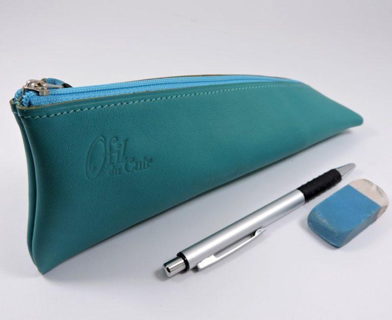 Trousse ecolier berlingot stylos bureau cuir vert maroquinerie