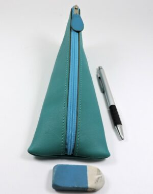 Trousse ecolier berlingot stylos bureau cuir vert