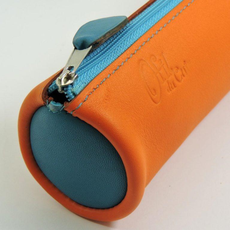 Trousse écolier stylos crayons maroquinerie-Lyon cuir bleu turquoise