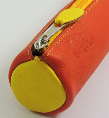 Trousse écolier stylos crayons maroquinerie-Lyon cuir rouge orangé