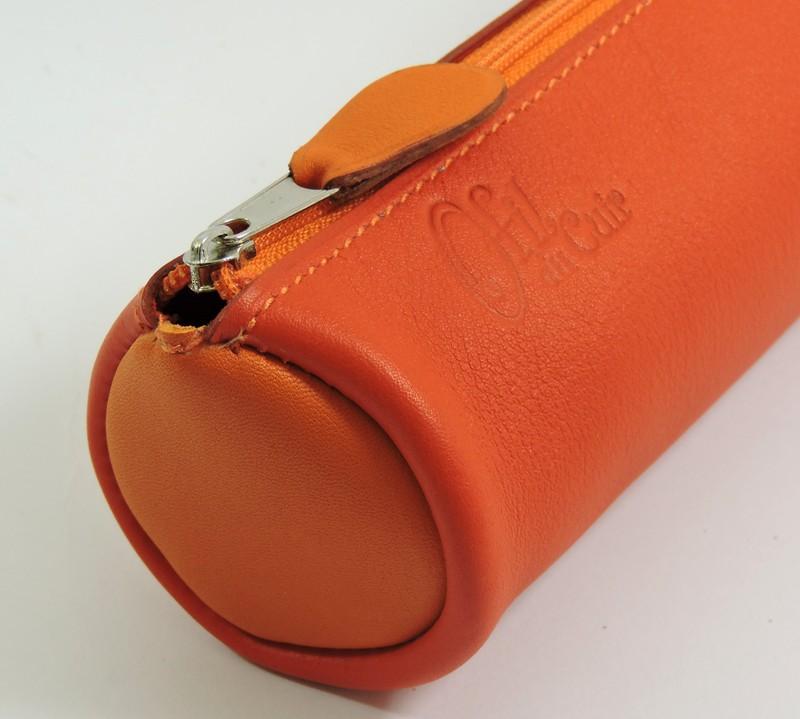 Trousse écolier stylos crayons maroquinerie-Lyon cuir orange