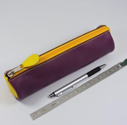 Trousse écolier stylos crayons maroquinerie-Lyon cuir jaune
