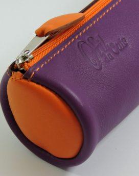 Trousse écolier stylos crayons maroquinerie-Lyon cuir violet