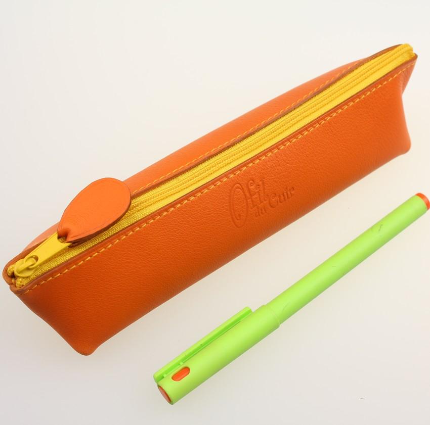 Trousse stylos maquillage cuir maroquinerie Lyon orange