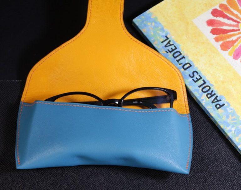 étui lunettes soleil vue cuir accessoires maroquinerie ofilducuir bleu jaune homme