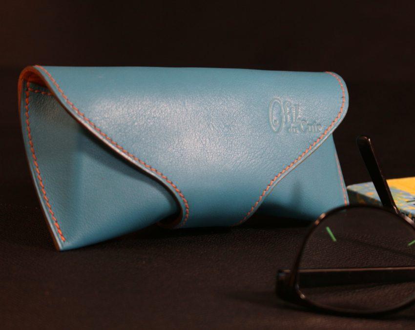 étui lunettes soleil vue cuir accessoires maroquinerie ofilducuir bleu lyon