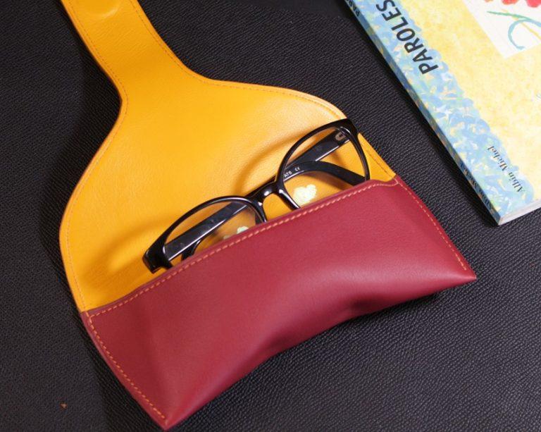 étui lunettes soleil vue cuir bordeaux accessoires maroquinerie ofilducuir