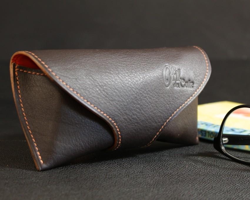 étui lunettes soleil vue cuir marron accessoires maroquinerie ofilducuir