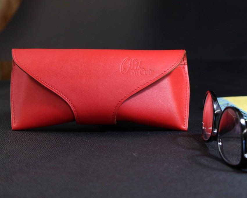 étui lunettes soleil vue cuir rouge accessoires maroquinerie ofilducuir