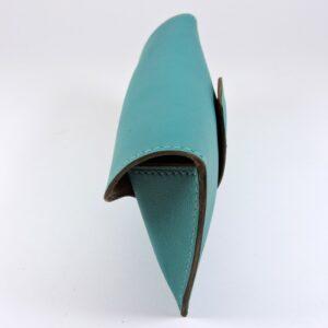 etui lunettes soleil cuir bleu turquoise maroquinerie lyon accessoires femme