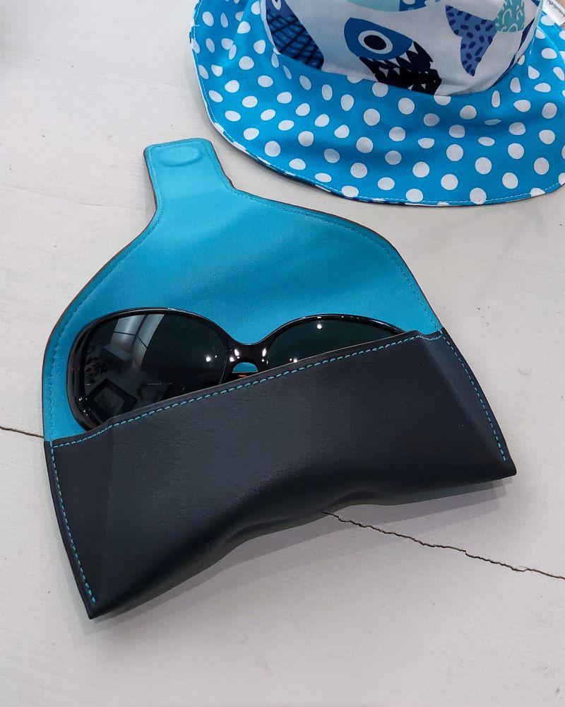 Etui lunettes de soleil ou de vue en cuir fermeture magnétique