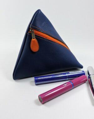 Pochette berlingot accessoire maroquinerie cuir bleu marine orange