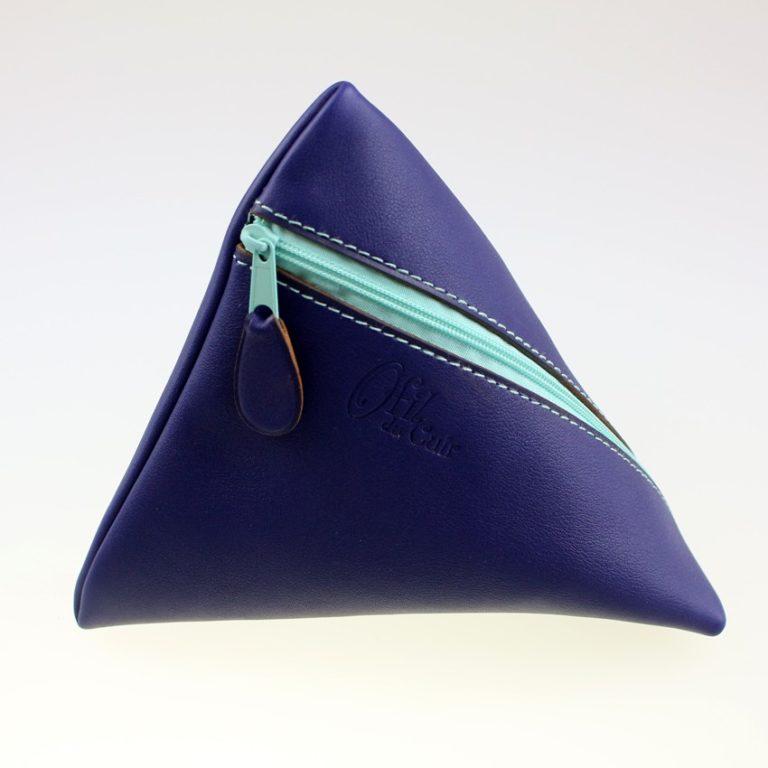 Pochette berlingot accessoire maroquinerie cuir bleu marine
