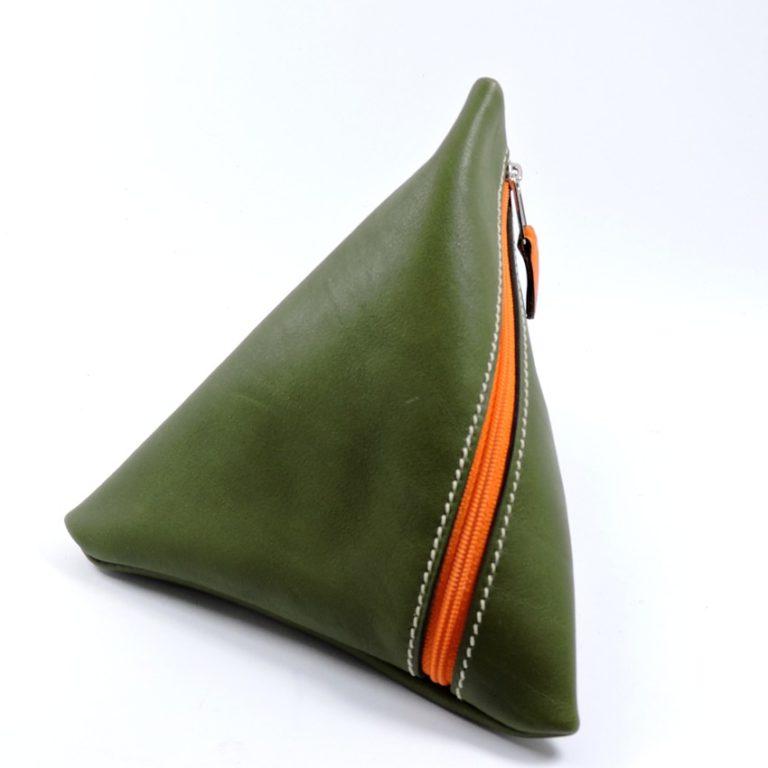 Pochette berlingot accessoire maroquinerie cuir vert kaki