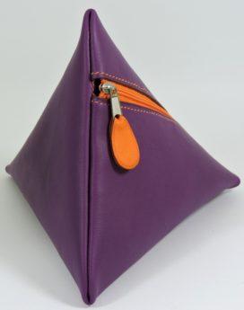 Pochette berlingot accessoire maroquinerie cuir violet
