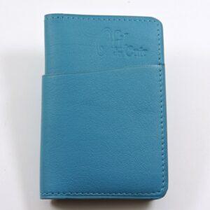 Porte cartes bancaire billet cuir maroquinerie Lyon bleu turquoise homme