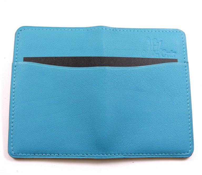 Porte cartes bancaire billet cuir maroquinerie Lyon bleu turquoise femme