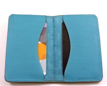 Porte cartes bancaire billet cuir maroquinerie Lyon bleu turquoise