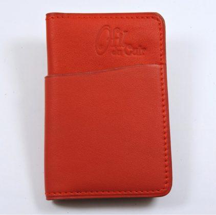 Porte cartes bancaire billet cuir maroquinerie Lyon rouge femme