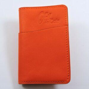 Porte cartes bancaire billet cuir maroquinerie Lyon rouge orangé accessoire homme