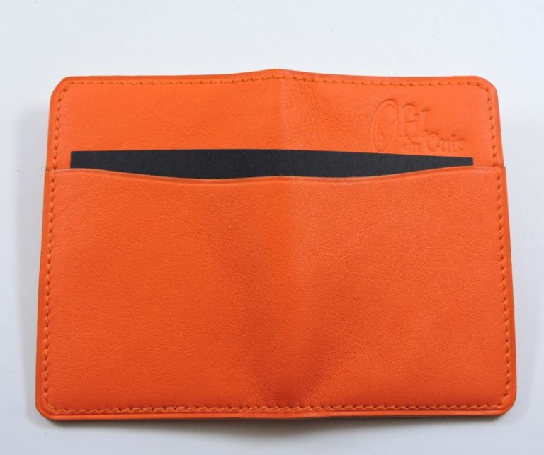 Porte cartes bancaire billet cuir maroquinerie Lyon rouge orangé accessoire