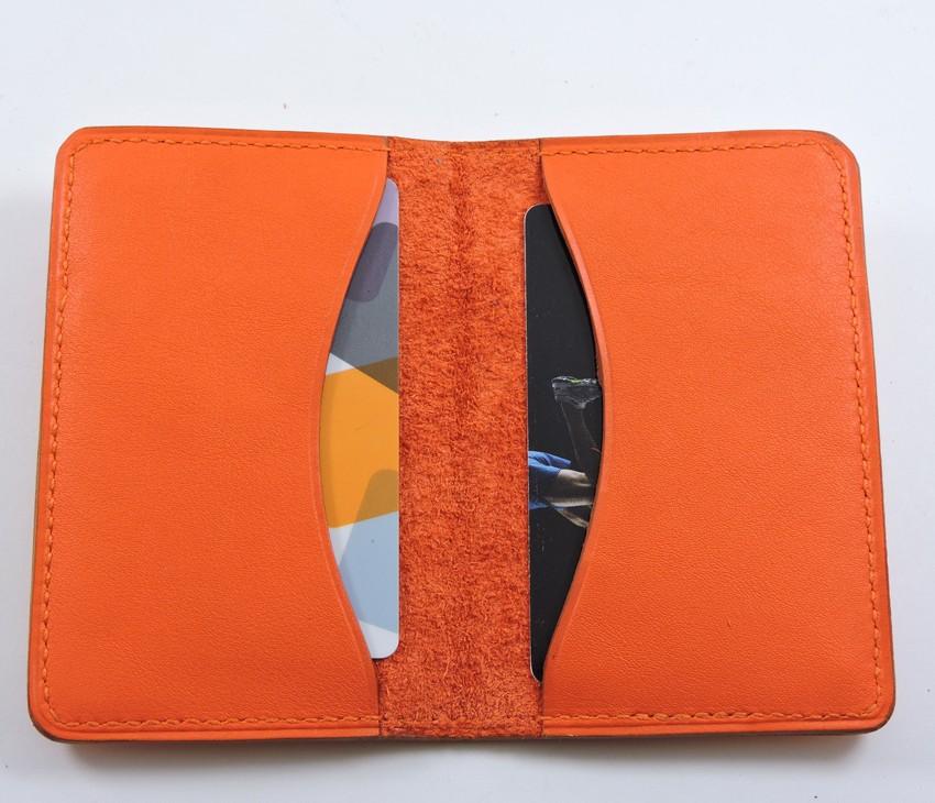 Porte cartes bancaire billet cuir maroquinerie Lyon rouge orangé