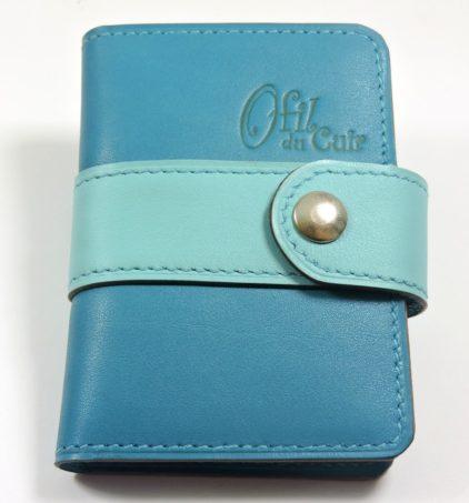 Porte carte fidélités bancaire visites maroquinerie Lyon cuir bleu turquoise