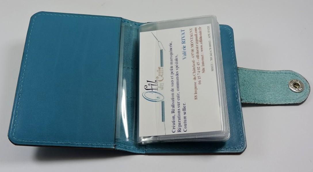 Porte carte fidélités bancaire visites maroquinerie Lyon cuir bleu turquoise accessoire