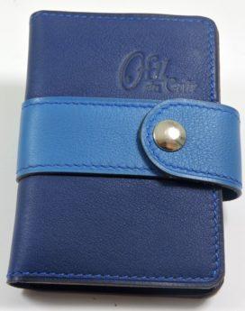 Porte carte fidélités bancaire visites maroquinerie Lyon cuir bleu marine
