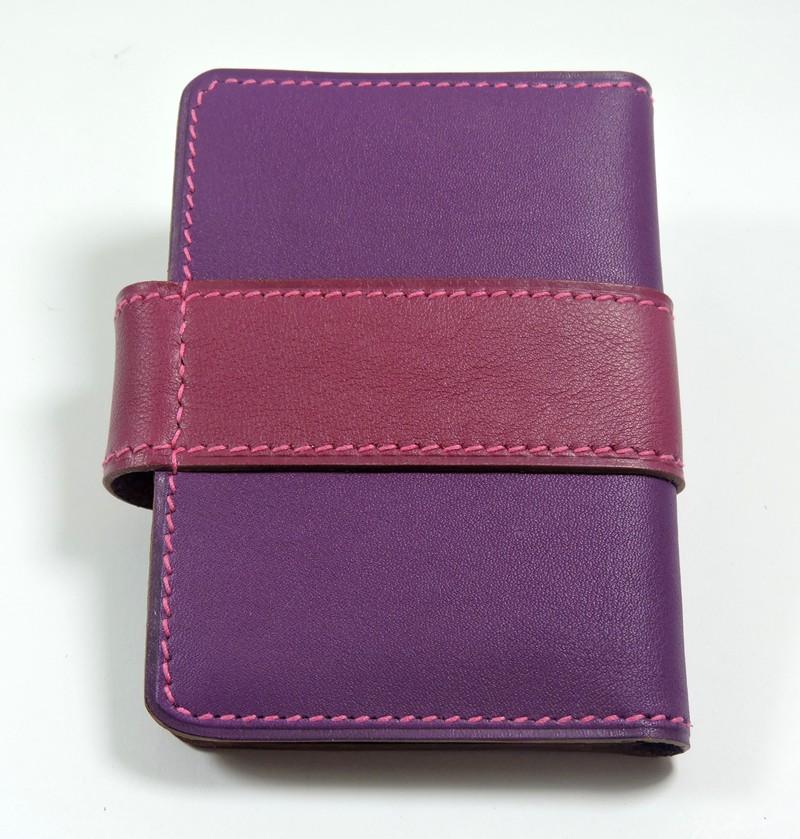 Porte carte fidélités bancaire visites maroquinerie Lyon cuir violet accessoire femme