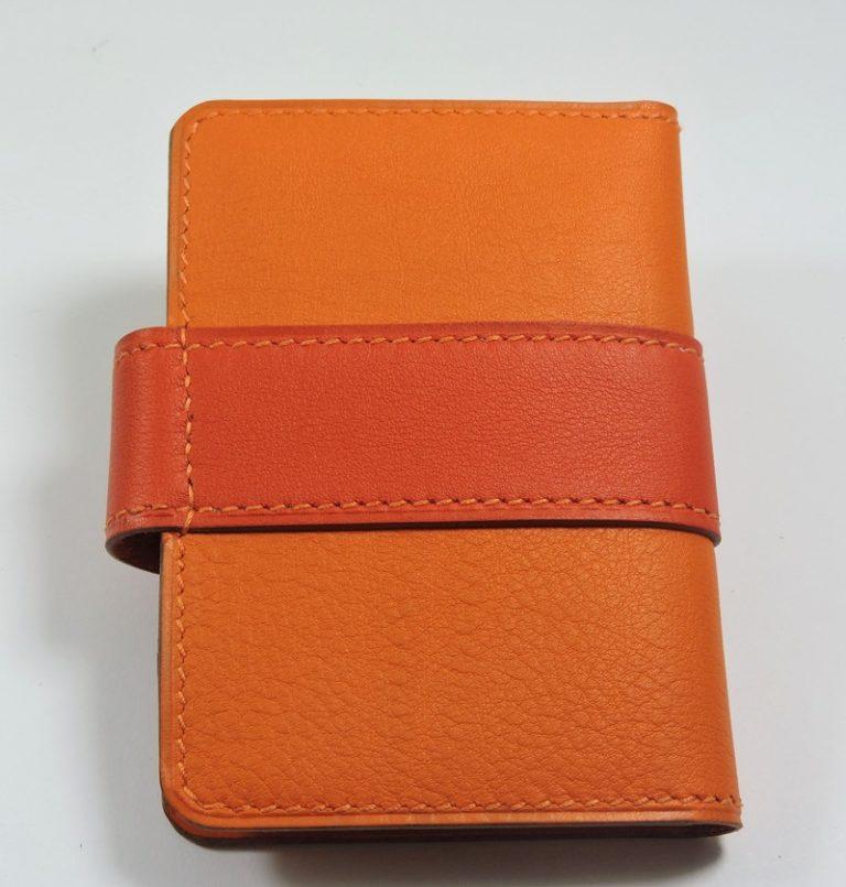 Porte carte fidélités bancaire visites maroquinerie Lyon cuir orange accessoire femme