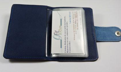 Porte carte fidélités bancaire visites maroquinerie Lyon cuir bleu marine accessoire