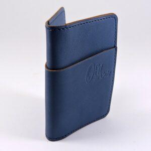 Porte cartes bancaire billet cuir maroquinerie Lyon bleu marine accessoire