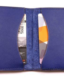 Porte cartes bancaire billet cuir maroquinerie Lyon bleu marine