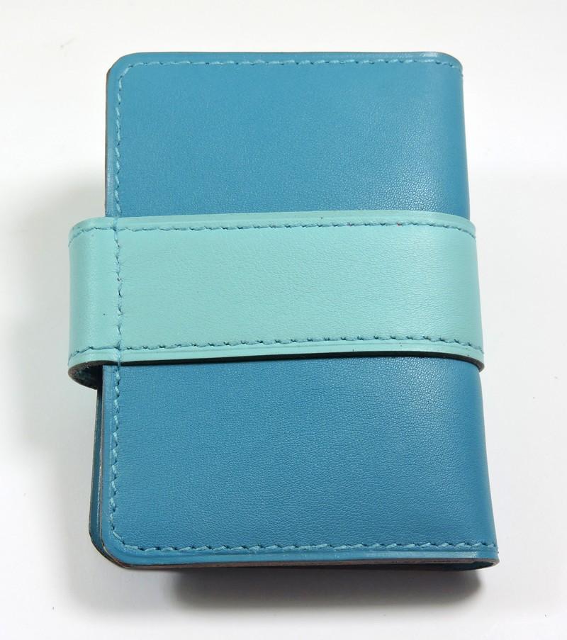 Porte carte fidélités bancaire visites maroquinerie Lyon cuir bleu turquoise accessoire femme