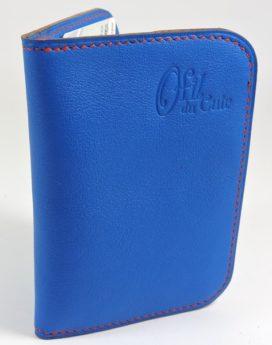 porte carte portefeuille bancaire cuir bleu electrique maroquinerie lyon
