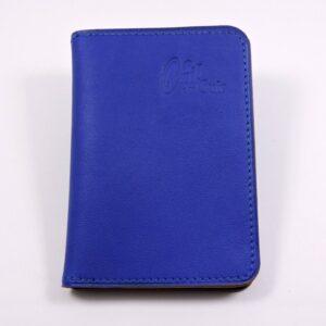 porte carte portefeuille bancaire cuir bleu saphir maroquinerie lyon