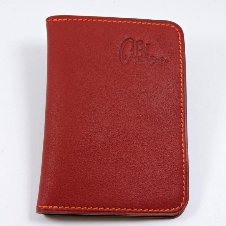 porte carte portefeuille bancaire cuir bordeaux maroquinerie lyon