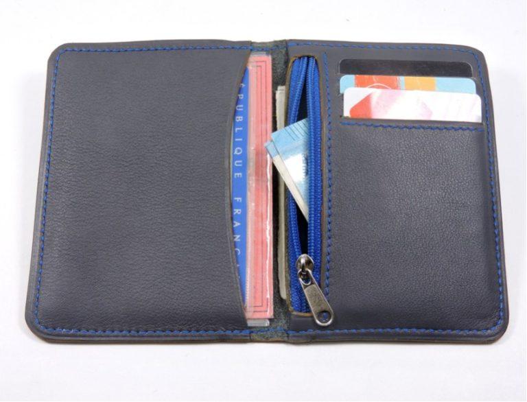porte carte portefeuille bancaire cuir gris maroquinerie lyon