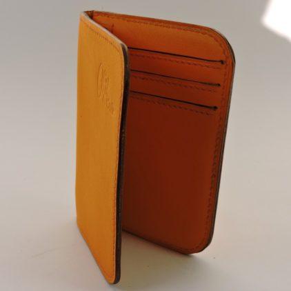 porte carte portefeuille bancaire cuir jaune orange maroquinerie lyon