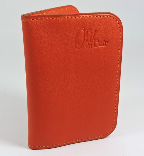 porte carte portefeuille bancaire cuir rouge prange maroquinerie lyon