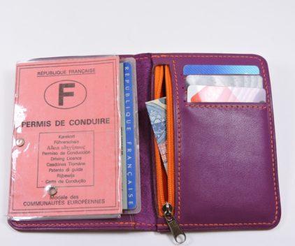 porte carte portefeuille bancaire cuir violet maroquinerie lyon