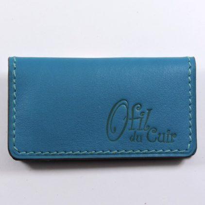porte ticket cuir metro bus paris lyon maroquinerie bleu turquoise