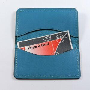 porte ticket cuir metro bus paris lyon maroquinerie bleu turquoise acessoires