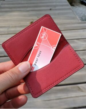 porte carte etui ticket metro cuir bordeaux maroquinerie lyon paris