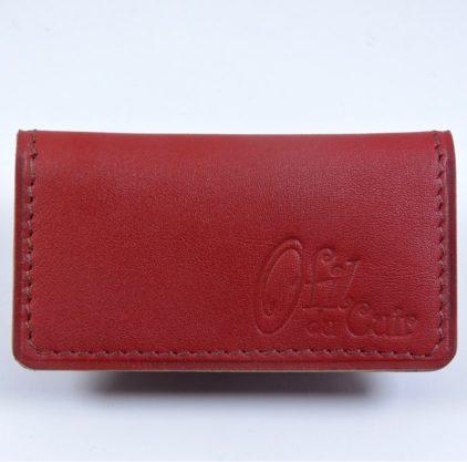 rouge porte ticket cuir metro bus paris lyon maroquinerie accessoire
