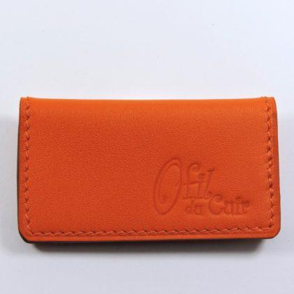 porte ticket cuir metro bus paris lyon maroquinerie rouge orange