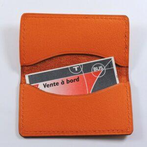 porte ticket cuir metro bus paris lyon maroquinerie orange