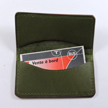 porte ticket cuir metro bus paris lyon maroquinerie vert kaki